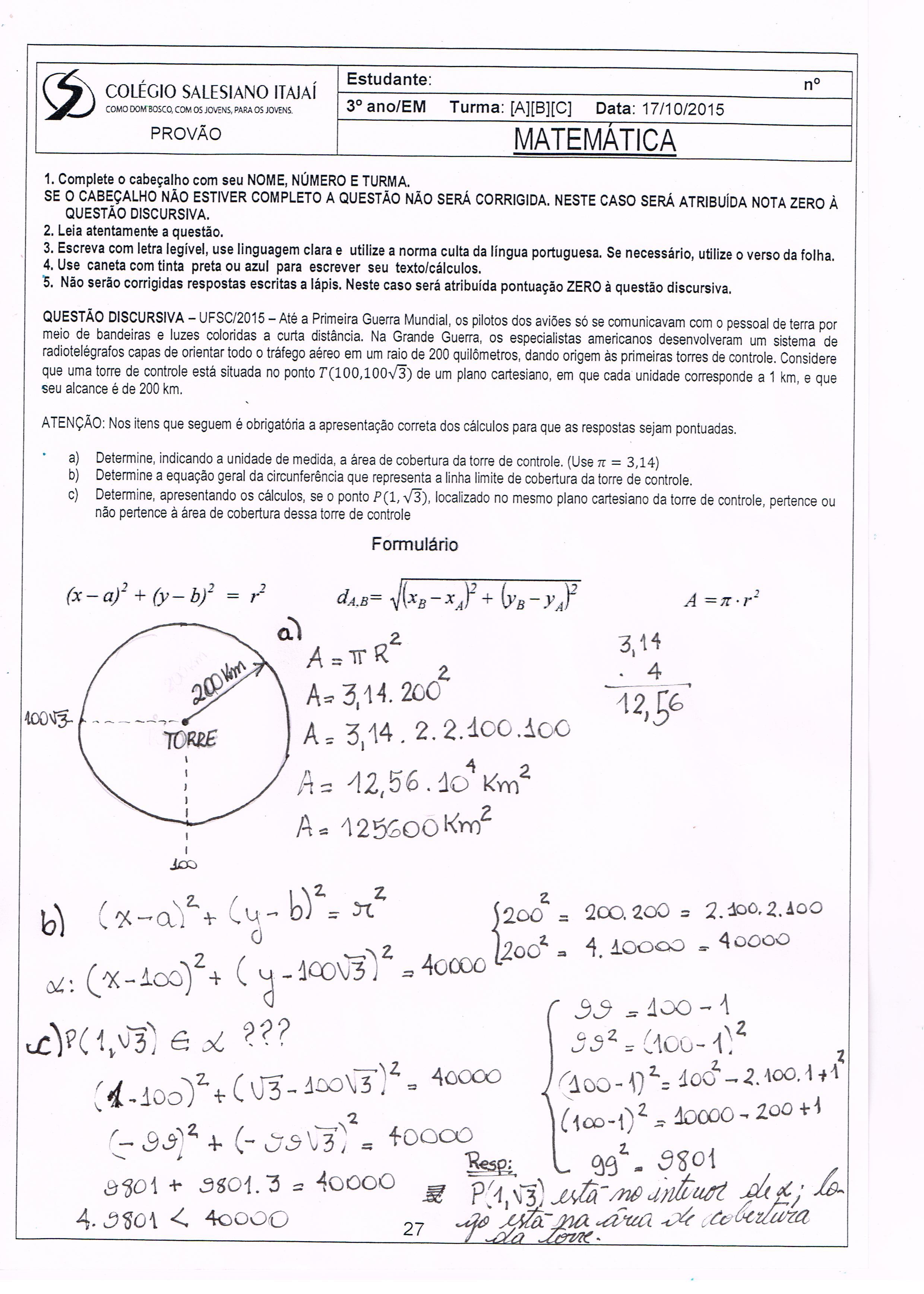 Preferência Gabarito do Simulado e Provão de Outubro - Colégio Salesiano Itajaí UB72